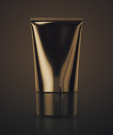 Realistic luxury Tube For cosmetics, ointments, cream, gel, Silver Black Clean. 3d rendering