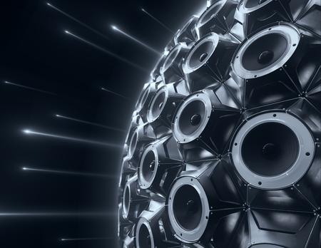black sphere of audio speakers and several opticle flare. 3d rendering 写真素材