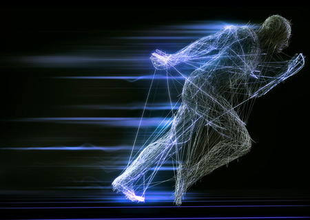 Fast running man 3d of splines on a black background. 3d rendering