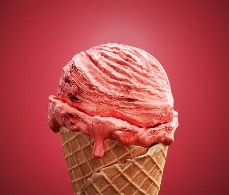 Close-up delicious strawberry ice cream with beautiful melting ice on pink background. 3D illustration