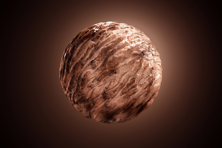 delicious chocolate ice cream ball with beautiful melting yogurt isollated on brown background. 3d Illustration.