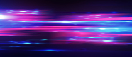 Acceleration speed motion on night road. Light and stripes moving fast over dark background. Abstract colorful Illustration. Stock fotó - 97637332
