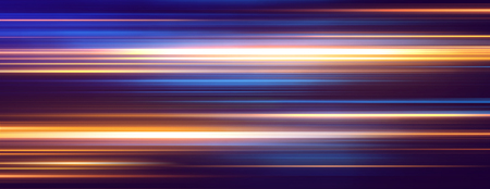 Acceleration speed motion on night road. Light and stripes moving fast over dark background. Abstract colorful Illustration. Stock fotó