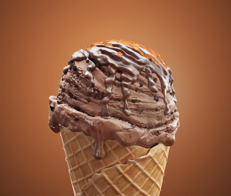 Close-up delicious coffee ice cream in waffle cone with chocolate cream and caramel isolated on brown background. 3D illustration