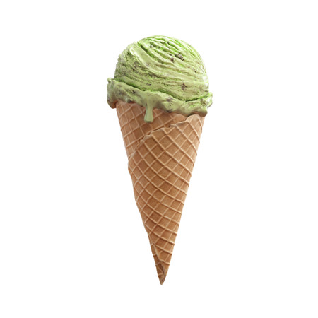 Close-up delicious pistachio ice cream  in waffle cone with beautiful melting ice isolated on white background. 3D illustration