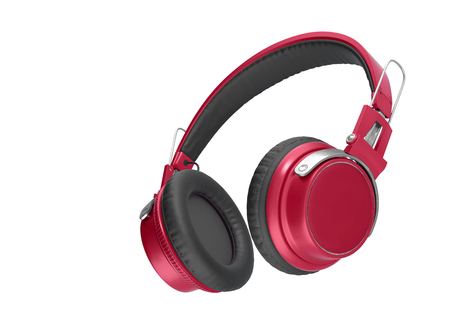 Realistic Red wireless headphones isolated on white background. Sound music headphone. Audio technology. Modern earphone. 3d Rendering Stock fotó