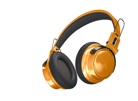 Realistic bright orange wireless headphones isolated on white background. Sound music headphone. Audio technology. Modern earphone. 3d Rendering Stock fotó