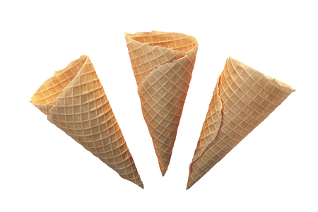 Delicious ice-cream cones isolated on white background. 3d illustration
