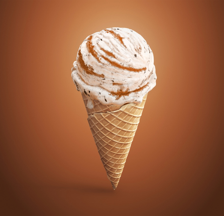 Highly detailed delicious vanilla ice cream with chocolate crumbs and apricot jam in waffle cone. 3D illustration