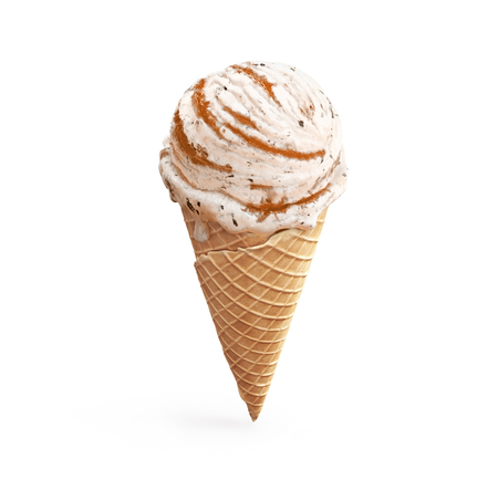 Highly detailed delicious vanilla ice cream with chocolate crumbs and apricot jam in waffle cone isolated on white background. 3D illustration