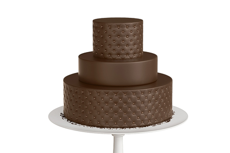 Delicious chocolate three tiered wedding cake on a white plate isolated on white background. 3d illustration