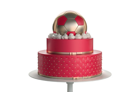 Delicious football cake with the decoration of the golden ball from above and confetti on background Symbolizing the soccer  . 3d illustration