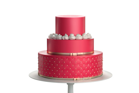 Delicious red three tiered wedding cake on a white plate isolated on white background. 3d illustration Stock fotó