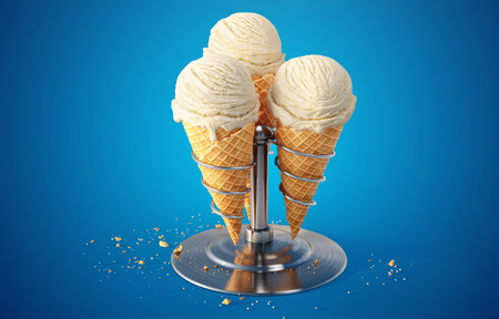 Variety of vanilla ice cream scoops in cones on a metal stand isolated on blue background. 3d Illustration