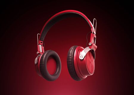 Realistic Red Modern headphones on dark background. 