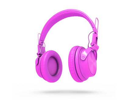 Fuchsia Headphones Isolated on a white  Background. 3d rendering Standard-Bild