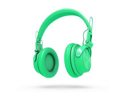 Green Headphones Isolated on a white  Background. 3d rendering