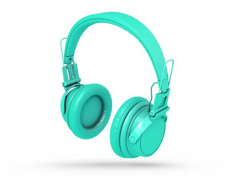 Turquoise Headphones Isolated on a white  Background. 3d rendering Standard-Bild