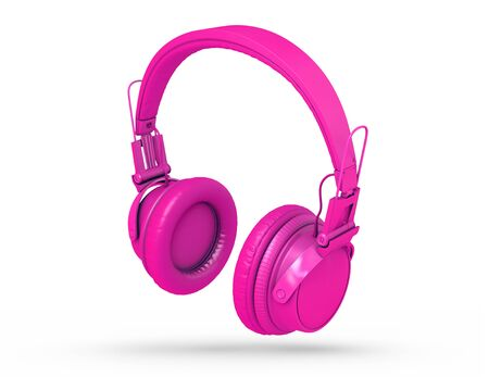 Fuchsia Headphones Isolated on a white  Background. 3d rendering Stock fotó