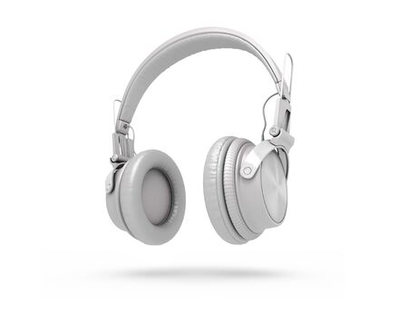 White Headphones Isolated on a white  Background. 3d rendering Stock fotó