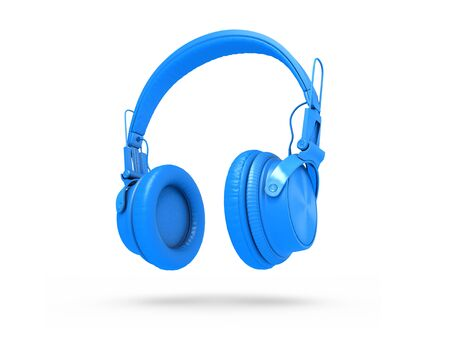 Blue Headphones Isolated on a white  Background. 3d rendering