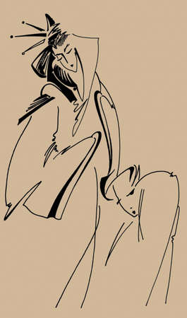remake: Drawing in Painter X,style of Japanese picture Indian inks,re-make style ukiyo-e  author painting