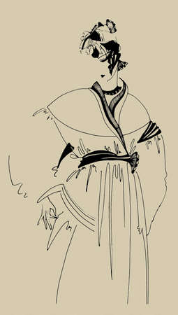 ukiyoe: Drawing in Painter X,style of Japanese picture Indian inks,re-make style ukiyo-e  author painting