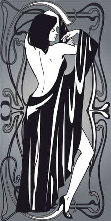 art deco design: illustration,vector graphics, backdrop ,linear picture,drawing,woman,elegance,beauty, contrasts ,design ,  image