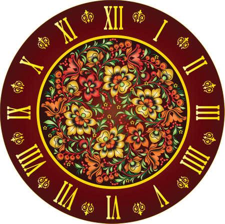 clockface: element of design of clock-face,style  arabesque, graphic arts are a vector,  Illustrator CS3