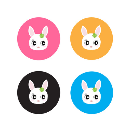 blushing: Cute bunny faces  Illustration