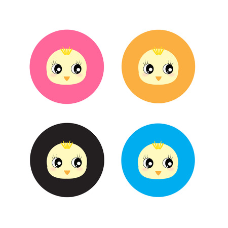 chick: Cute chick faces vector