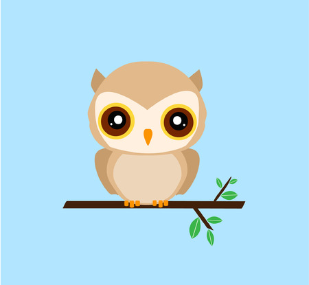 tree branch: Cute owl on tree branch