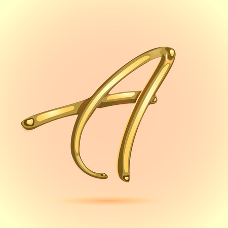 Gold elegant letter A Logo made of golden drops vector illustration