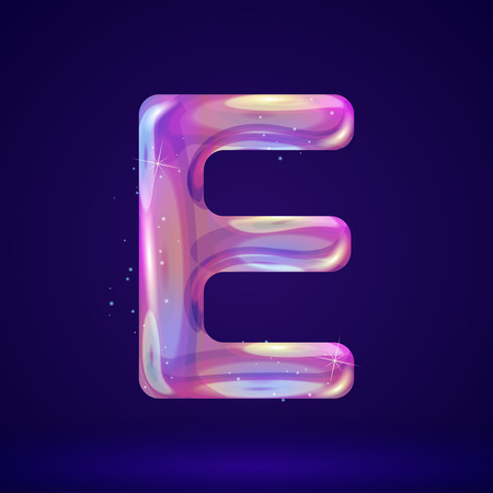 Holographic cosmos effect alphabet letter E vector illustration. Modern 3d fantasy character.