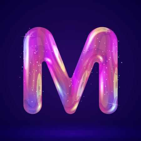 Holographic cosmos effect alphabet letter M vector illustration. Modern 3d fantasy character.