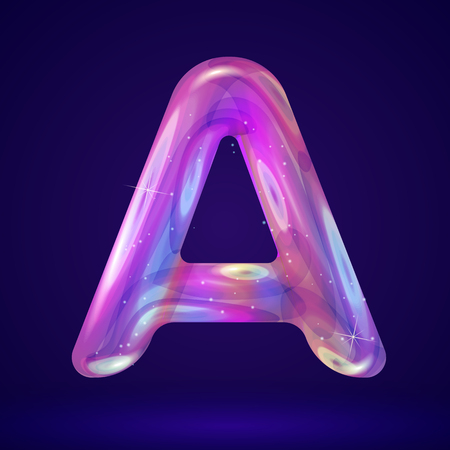 Holographic cosmos effect alphabet letter A vector illustration. Modern 3d fantasy character.
