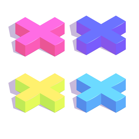 Isometric plus button simple icon set concept vector illustration