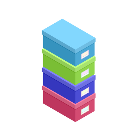Isometric stacked box for papers set vector illustration