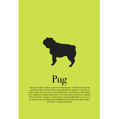 Dog pug silhouette poster vector illustration design