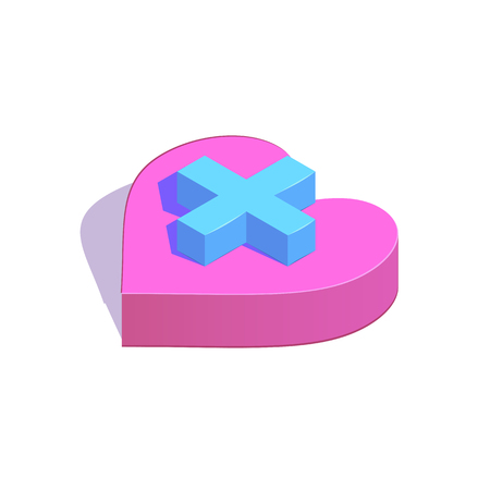 Isometric plus button on heart simple icon. New partner concept vector illustration Ilustrace