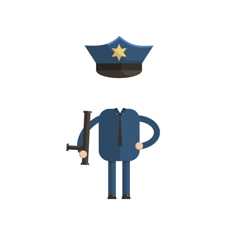 Sticker for a photo or game, a police officer costume cartoon style vector illustration cartoon style vector illustration