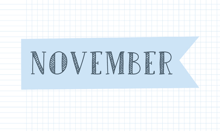 Month banner journal vector illustration. Planner title and header. Crafting clip art.