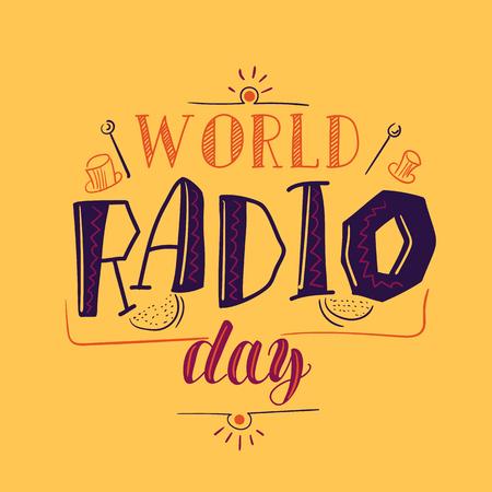 World radio day poster vector illustration social media clip art.