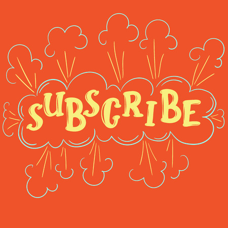 subscribe lettering doodle poster illustration for social media Stock Photo