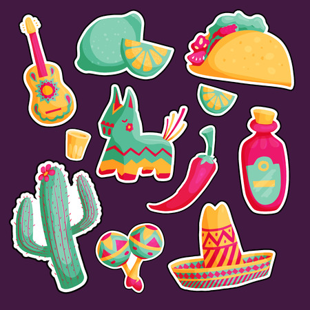 Cinco de mayo mexican sticker illustrations set in bright colours with sombrero, cactus, tequila, tacos Illustration