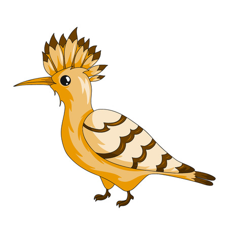 Hoopoe bird icon. Cartoon vector illustration with stroke isolated on white