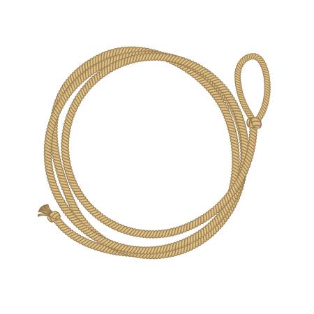 Marco de círculo de lazo. Ilustración de vector de cuerda de vaquero con lugar para texto aislado en blanco Foto de archivo - 105593488
