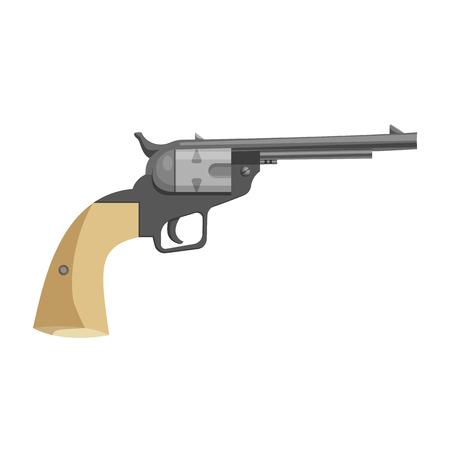 Cartoon revolver icon. Hand gun wild west vector illustration