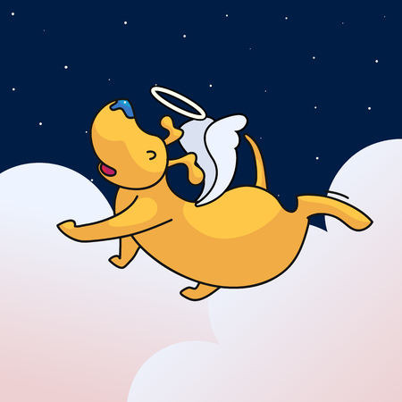 All dogs go to heaven design. Cute puppy character with wings and nimbus. Lovely pet funeral concept
