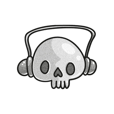 Stippled funny skull with headphones. Dotted tattoo design. Halftone vector illustration. Music love concept. Funny character